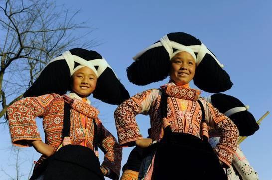 长角苗是世代居住于六盘水境内的一个苗族分支--因其独具特色头饰而得图片
