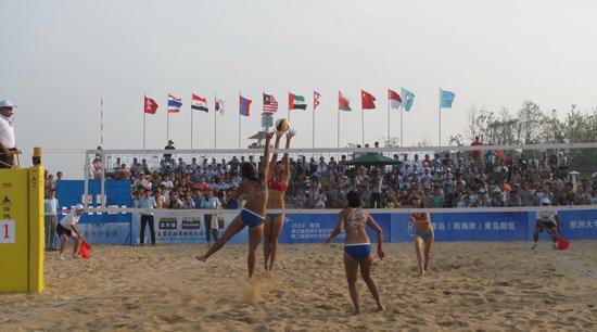 亚洲大学生沙滩排球锦标赛在青岛黄岛区开赛