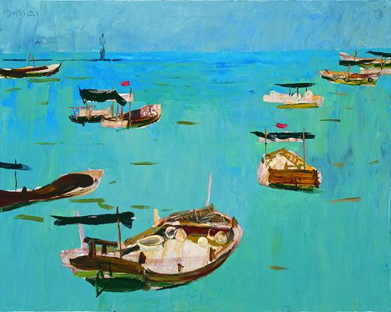 中国当代意象风景油画展在石开幕 展100余副作品