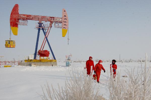 1月25日,克拉玛依油田采油二厂黄秀梅班组采油工行走在茫茫雪原踏雪
