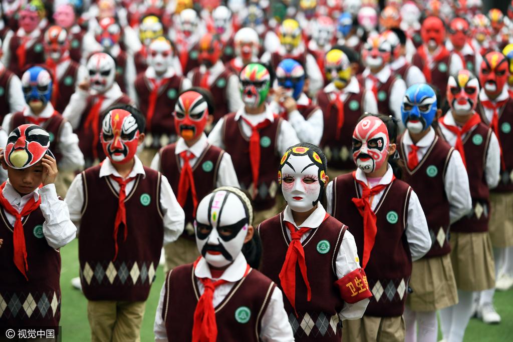 武汉千名小学生戴戏曲脸谱跳操小学均为自已星湖位置面具图片