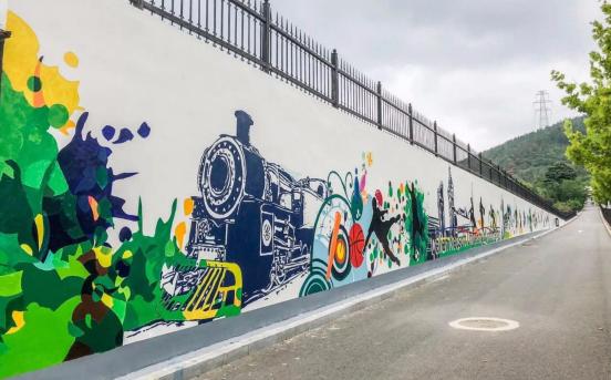 原创主题墙绘为文明校园增色