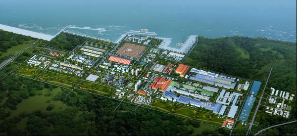 宝钢广东湛江钢铁基地项目是由宝钢投资,按照一次规划,分步实施的原则图片